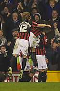 Adrian Colunga of Brighton and Hove Albion celebrates scoring the opening goal against Fulham during the Sky Bet Championship match at Craven Cottage, London<br /> Picture by David Horn/Focus Images Ltd +44 7545 970036<br /> 29/12/2014