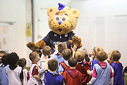 Dundee mascot Deewok is mobbed by kids at Dundee FC in the Community kids Champions League finals at Manhattan Works<br /> <br />  - &copy; David Young - www.davidyoungphoto.co.uk - email: davidyoungphoto@gmail.com