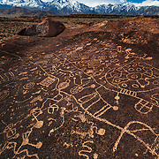 Sky Rock Petroglyph And The Sierras -  Eastern Sierras, CA