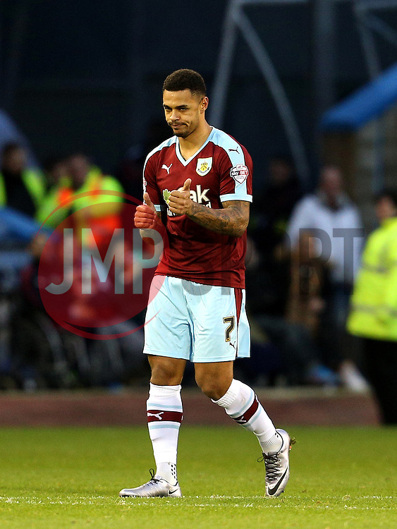 Burnley's Andre Gray celebrates after scoring his goal to make it 2-0 - Mandatory byline: Matt McNulty/JMP - 07966 386802 - 28/12/2015 - FOOTBALL - Turf Moor - Burnely, England - Burnley v Bristol City - Sky Bet Championship