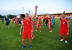 NEWPORT, WALES - Tuesday, June 12, 2018: Wales' Natasha Harding celebrates at the final whistle after beating Russia 3-0 during the FIFA Women's World Cup 2019 Qualifying Round Group 1 match between Wales and Russia at Newport Stadium. (Pic by David Rawcliffe/Propaganda)