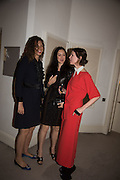 NAOMI CAMBRIDGE; HELEN THORPE; VALERIA NAPOLEONE, Stefania Pramma launched her handbag brand PRAMMA  at the Kensington residence of her twin sister, art collector Valeria Napoleone.. London.  29 April 2015