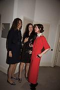 NAOMI CAMBRIDGE; HELEN THORPE; VALERIA NAPOLEONE, Stefania Pramma launched her handbag brand PRAMMA  at the Kensington residence of her twin sister, art collector Valeria Napoleone.. London.  29 April 2015