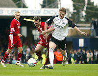 Photo: Chris Ratcliffe.<br />Southend United v Bristol City. Coca Cola League 1. 06/05/2006.<br />Luke Wiltshire (L) of Bristol City is chased down by Mark Gower of Southend United.