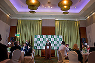 Andrew Jarrett - ITF referee supervisor while official dinner at Regent Hotel two days before the BNP Paribas Davis Cup 2014 between Poland and Croatia at Torwar Hall in Warsaw on April 2, 2014.<br /> <br /> Poland, Warsaw, April 2, 2014<br /> <br /> Picture also available in RAW (NEF) or TIFF format on special request.<br /> <br /> For editorial use only. Any commercial or promotional use requires permission.<br /> <br /> Mandatory credit:<br /> Photo by © Adam Nurkiewicz / Mediasport