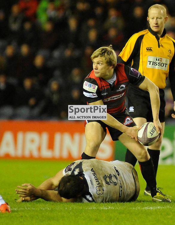 Nathan Fowles in action during the Edinburgh Rugby v Agen European Challenge Cup game, ......(c) COLIN LUNN | SportPix.org.uk