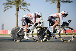 Anna van der Breggen and Anouska Koster (Rabo Liv) approach The Pearl at the 40 km Women's Team Time Trial, UCI Road World Championships 2016 on 9th October 2016 in Doha, Qatar. (Photo by Sean Robinson/Velofocus).