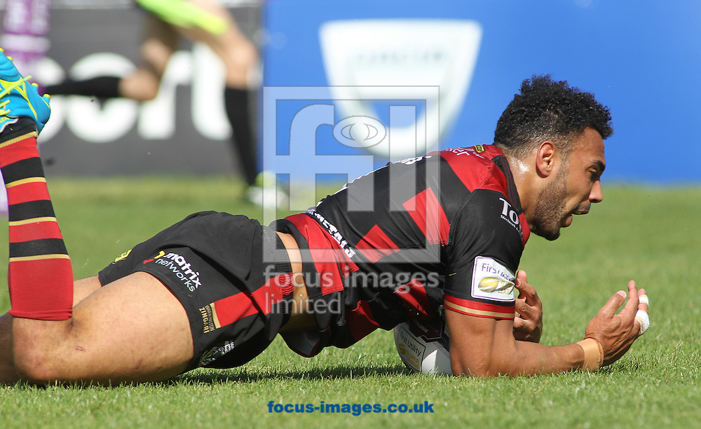 Ryan Atkins of Warrington Wolves scores the try against Wakefield Trinity Wildcats during the Super 8s match at Belle Vue, Wakefield<br /> Picture by Stephen Gaunt/Focus Images Ltd +447904 833202<br /> 14/08/2016