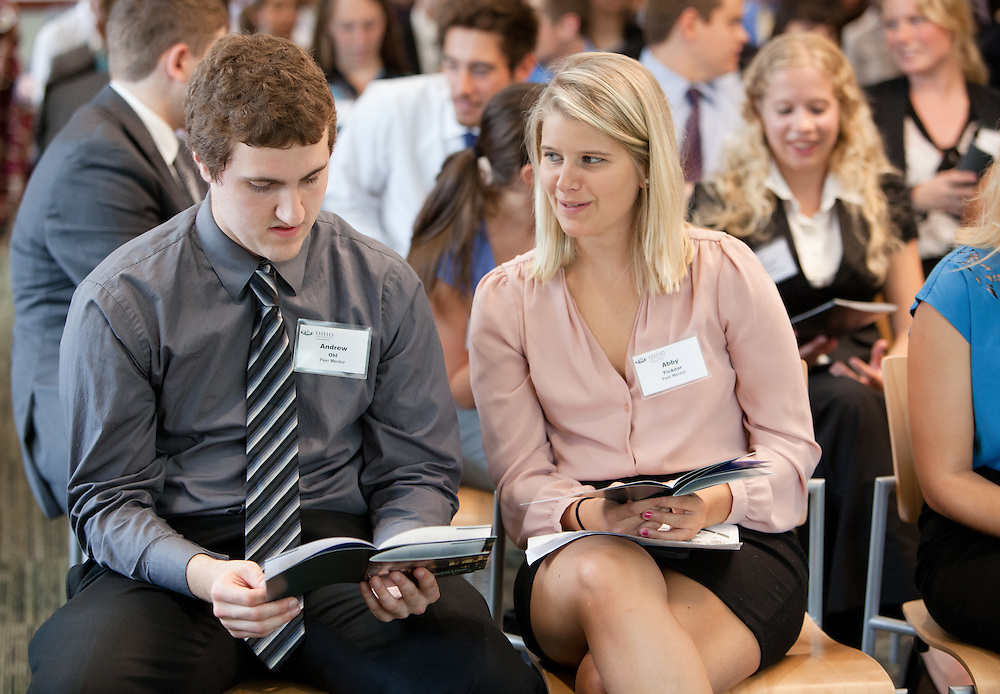 Peer mentors Andrew Ohl and Abby Ticknor during the Ohio University College of Business  Freshman Convocation at Nelson Commons on Aug. 23, 2014. Photo by Lauren Pond