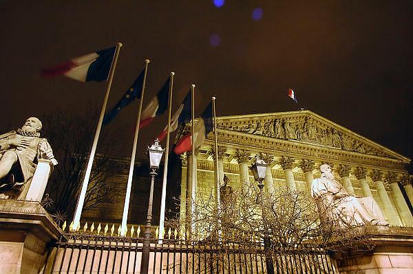 Frankrijk, Parijs, 28-3-2010Het Franse parlement bij avond. Exterieur.Foto: Flip Franssen/Hollandse Hoogte