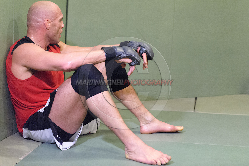 Randy Couture relaxes after working on grappling drills during a training session ahead of UFC 105 at Straight Blast Gym in Manchester, England on November 11, 2009.