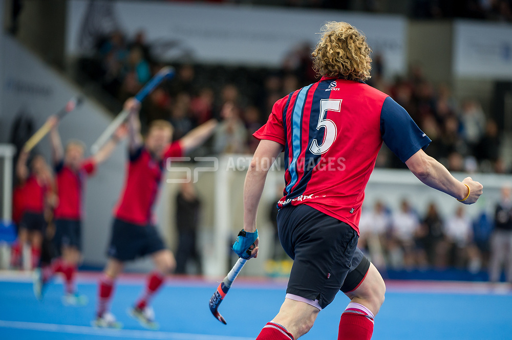 Hampstead & Westminster celebrate getting a goal back. Wimbledon v Hampstead & Westminster - Semi-Final - Men's Hockey League Finals, Lee Valley Hockey & Tennis Centre, London, UK on 22 April 2017. Photo: Simon Parker