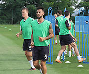 Kane Hemmings and Thomas Konrad during  Dundee pre-season training at GLOBALL Football Park, Budapest, Hungary<br /> <br />  - &copy; David Young - www.davidyoungphoto.co.uk - email: davidyoungphoto@gmail.com