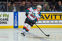 KELOWNA, CANADA - FEBRUARY 16: Kyle Topping #24 of the Kelowna Rockets warms up against the Vancouver Giants  on February 16, 2019 at Prospera Place in Kelowna, British Columbia, Canada.  (Photo by Marissa Baecker/Shoot the Breeze)