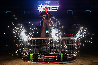 KELOWNA, CANADA - JULY 7:  Twenty-three year old Brock Radford of Dewinton, AB is introduced at the Monster Energy Pro Bull Riding tour on July 7, 2018 at Prospera Place in Kelowna, British Columbia, Canada.  (Photo by Marissa Baecker/Shoot the Breeze)  *** Local Caption ***