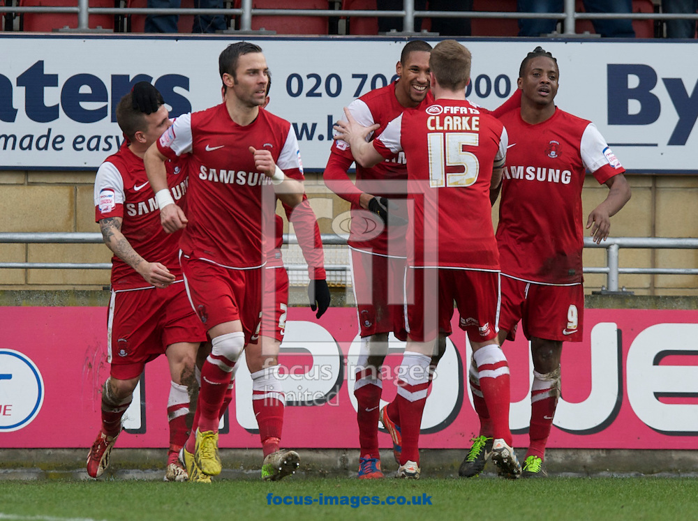 Picture by Alan Stanford/Focus Images Ltd +44 7915 056117.16/03/2013. Leyton Orient  players celebrate with Shaun Batt 3rd from right on scoring during the npower League 1 match at the Matchroom Stadium, London..