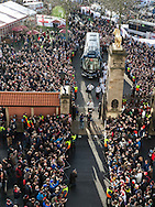The England team arrive through the Lion Gate, England v France in a RBS 6 Nations match at Twickenham Stadium, London, England, on 4th February 2017.