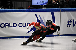 February 9, 2019 - Torino, Italia - Foto LaPresse/Nicolò Campo .9/02/2019 Torino (Italia) .Sport.ISU World Cup Short Track Torino - Men 500 meters Semifinals .Nella foto: Samuel Girard, Shaolin Sander Liu..Photo LaPresse/Nicolò Campo .February 9, 2019 Turin (Italy) .Sport.ISU World Cup Short Track Turin - Men 500 meters Semifinals.In the picture: Samuel Girard, Shaolin Sander Liu (Credit Image: © Nicolò Campo/Lapresse via ZUMA Press)