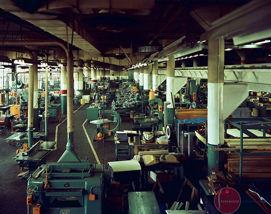 Interior of the Studebaker Corporation's Machine Shop, building #72, c. 1961.