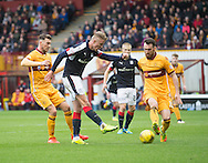 Mark O&rsquo;Hara scores Dundee' s third goal - Motherwell v Dundee in the Ladbrokes Scottish Premiership at Fir Park, Motherwell.Photo: David Young<br /> <br />  - &copy; David Young - www.davidyoungphoto.co.uk - email: davidyoungphoto@gmail.com
