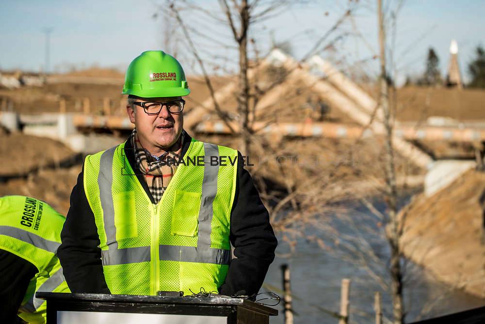 1/12/18 11:04:59 AM -- Halliburton CEO Jeff Miller and George Kaiser visit the Gathering Place for a press conference announcing Halliburton's support for the park. <br /> <br /> Photo by Shane Bevel