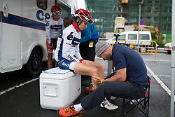 Cecilia Uttrup Ludwig (DEN) of Cervélo-Bigla Cycling Team gets a final leg rub before Stage 2 of the Emakumeen Bira - a 90.8 km road race, starting and finishing in Markina Xemein on May 18, 2017, in Basque Country, Spain. (Photo by Balint Hamvas/Velofocus)