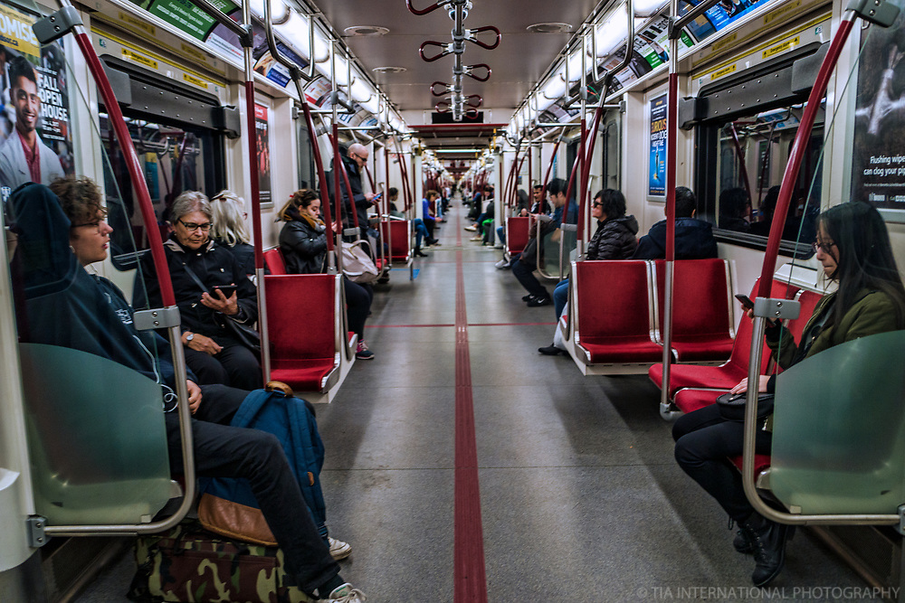 Aboard the Green Line Subway of the TTC
