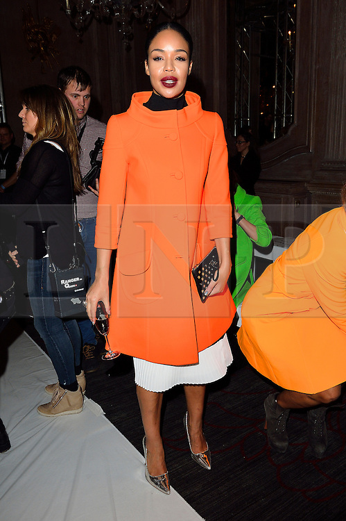 © Licensed to London News Pictures. 19/02/2016. SARAH JANE CRAWFORD attends the PAUL COSTELLO Autumn/Winter 2016 presentation. Models, buyers, celebrities and the stylish descend upon London Fashion Week for the Autumn/Winters 2016 clothes collection shows. London, UK. Photo credit: Ray Tang/LNP