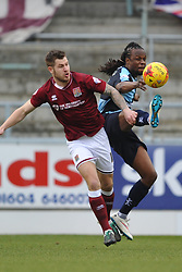 WYCOMBES MARCUS BEAN HOLDS OF NORTHAMPTONS JAMES COLLINS, Northampton Town v Wycombe Wanderers, Sixfields Stadium, Sky Bet League 2, Saturday 20th Febuary 2016