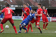 Rhys Murphy of AFC Wimbledon is surrounded by York City Players during the Sky Bet League 2 match between AFC Wimbledon and York City at the Cherry Red Records Stadium, Kingston, England on 19 March 2016. Photo by Stuart Butcher.