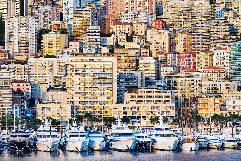 Dense apartment buildings and yachts in Port Hercules, Monaco.