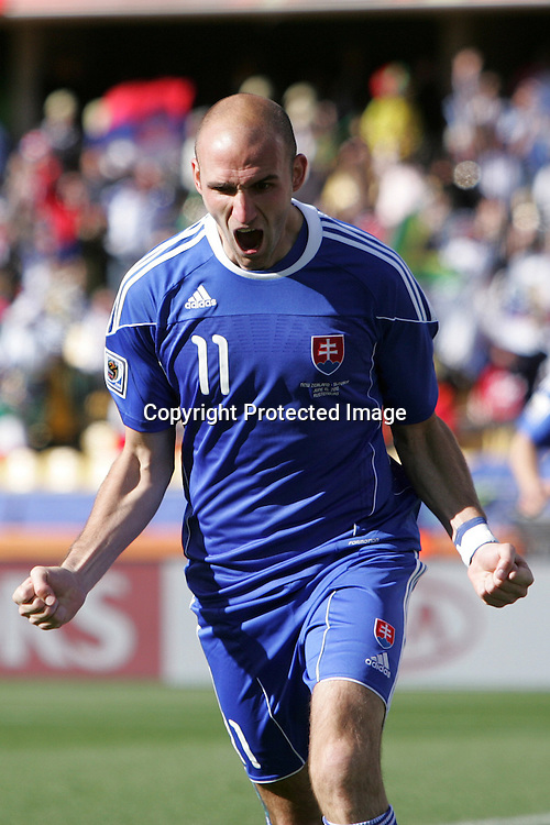 Robert Vittek of Slovakia celebrates scoring the first goal for Slovakia during the the FIFA World Cup 2010 match between New Zealand and Slovakia at The Royal Bafokeng stadium in Rustenburg, South Africa on the 15th June 2010<br /> <br /> <br /> Photo by Ron Gaunt/Sportzpics/PHOTOSPORT