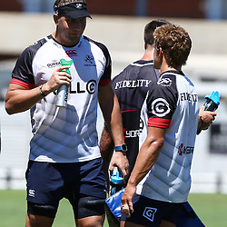 Etienne Oosthuizen  chats to Patrick Lambie during The Cell C Sharks Pre Season training, session at Growthpoint Kings Park in Durban, South Africa. 17 February 2017(Photo by Steve Haag)<br /> <br /> images for social media must have consent from Steve Haag