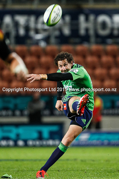 Highlander's Marty Banks kicks the match winning penalty in the Super 15 Rugby Match - Chiefs v Highlanders, 6 March 2015 at Waikato Stadium, Hamilton, New Zealand on Friday 6 March 2015.  Photo:  Bruce Lim / www.photosport.co.nz