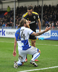 Jonathan Meades of AFC Wimbledon remonstrates with Stuart Sinclair of Bristol Rovers - Mandatory by-line: Neil Brookman/JMP - 18/11/2017 - FOOTBALL - Memorial Stadium - Bristol, England - Bristol Rovers v AFC Wimbledon - Sky Bet League One