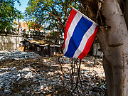 20 MARCH 2017 - BANGKOK, THAILAND: A Thai flag attached to a tree that shades an empty lot that used to be a home in Pom Mahakan. As families are evicted the government immediately tears down the home so squatters don't move into it. The final evictions of the remaining families in Pom Mahakan, a slum community in a 19th century fort in Bangkok, have started. City officials are moving the residents out of the fort. NGOs and historic preservation organizations protested the city's action but city officials did not relent and started evicting the remaining families in early March.               PHOTO BY JACK KURTZ