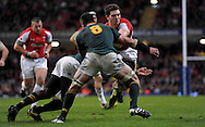 Photo © TOM DWYER / SECONDS LEFT IMAGES 2010 - Rugby Union - Invesco Perpetual Series - Wales v South Africa - 13/11/10 - Wales' George North makes a lunge for the tryline and is stopped by two South Africa's inc (8) Pierre Spies - at Millennium Stadium Cardiff Wales UK -  All rights reserved