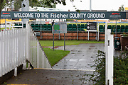 Damp welcome to Grace Rd on Day 3 during the Specsavers County Champ Div 2 match between Leicestershire County Cricket Club and Middlesex County Cricket Club at the Fischer County Ground, Grace Road, Leicester, United Kingdom on 12 June 2019.