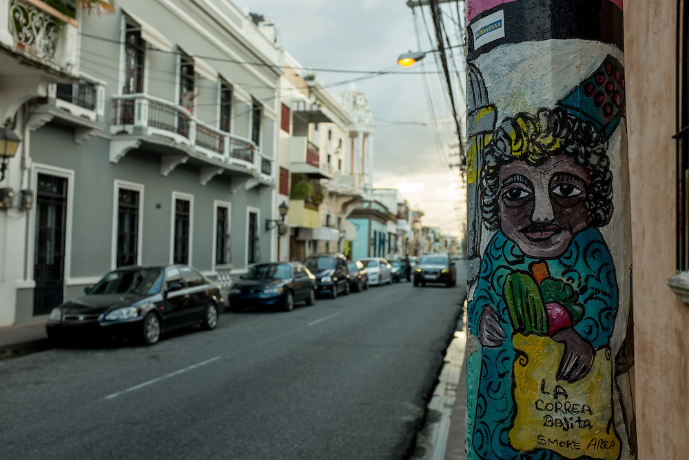 SANTO DOMINGO, DOMINICAN REPUBLIC- DECEMBER 2, 2014:  Street art on a light pole  in Santo Domingo's Zona Colonial (Colonial Zone). Story on tourism to the Caribbean Island.  (Photo by Angel Valentin/Getty Images for Der Spiegel)