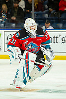 KELOWNA, BC - OCTOBER 16:  Cole Schwebius #31 of the Kelowna Rockets skates to the bench on a penalty call against the Swift Current Broncos at Prospera Place on October 16, 2019 in Kelowna, Canada. (Photo by Marissa Baecker/Shoot the Breeze)