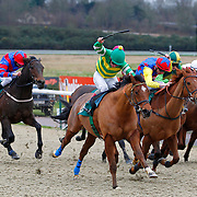 Conducting and Jimmy Quinn winning the 11.50 race