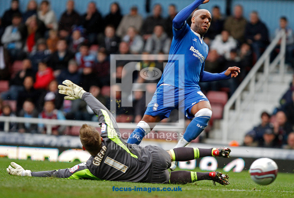 Picture by Daniel Chesterton/Focus Images Ltd. 07966 018899.09/04/12.Marlon King of Birmingham City scores his side's second goal during the Npower Championship match at the Boleyn Ground stadium, London.