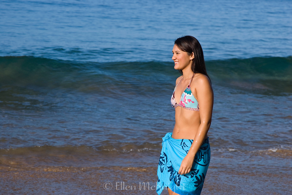 Young Hawaiian Woman on the Beach in Maui
