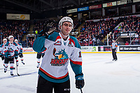 KELOWNA, CANADA - FEBRUARY 24: Dillon Dube #19 of the Kelowna Rockets skates to the bench to high five in celebration a goal against the Kamloops Blazers on February 24, 2018 at Prospera Place in Kelowna, British Columbia, Canada.  (Photo by Marissa Baecker/Shoot the Breeze)  *** Local Caption ***