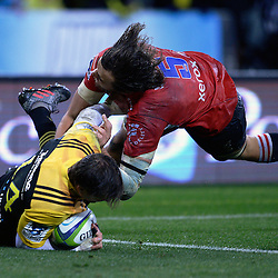 Cory Jane scores during the Super Rugby final match between the Hurricanes and Lions at Westpac Stadium, Wellington, New Zealand on Saturday, 6 August 2016. Photo: Marco Keller - www.polomedia.co.nz / lintottphoto.co.nz