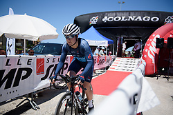Former TT World Champion, Linda Villumsen begins Stage 5 of the Giro Rosa - a 12.7 km individual time trial, starting and finishing in Sant'Elpido A Mare on July 4, 2017, in Fermo, Italy. (Photo by Sean Robinson/Velofocus.com)