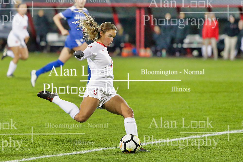 NORMAL, IL - October 17:  Mikayla Unger during an NCAA Missouri Valley Conference (MVC)  women's soccer match between the Indiana State Sycamores and the Illinois State Redbirds October 17 2018 on Adelaide Street Field in Normal IL (Photo by Alan Look)