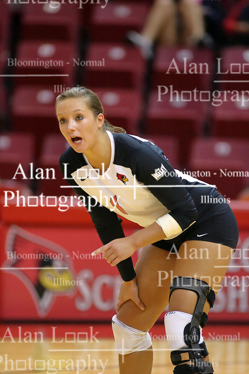 30 August 2011: Sierra Burris during an NCAA volleyball match between the Cougars of Southern Illinois Edwardsville and the Illinois State Redbirds at Redbird Arena in Normal Illinois.