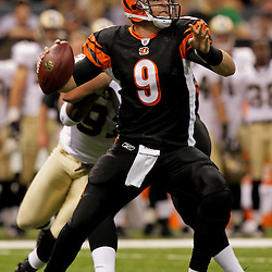 2009 August 14: Cincinnati Bengals quarterback Carson Palmer (9) looks to pass during a preseason opener between the Cincinnati Bengals and the New Orleans Saints at the Louisiana Superdome in New Orleans, Louisiana.