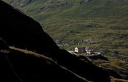 THEMENBILD - Blick auf das Glocknerhaus auf der Grossglockner Hochalpenstrasse. Sie verbindet die beiden Bundeslaender Salzburg und Kaernten mit einer Laenge von 48 Kilometer und ist als Erlebnisstrasse vorrangig von touristischer Bedeutung, aufgenommen am 31. Juli 2015, Heiligenblut, Oesterreich // Glocknerhouse. The Grossglockner High Alpine Road connects the two provinces of Salzburg and Carinthia with a length of 48 km and is as an adventure road priority of tourist interest at Heiligenblut, Austria on 2015/07/31. EXPA Pictures © 2015, PhotoCredit: EXPA/ JFK
